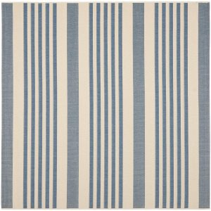 Beige and Blue Indoor Outdoor Square Area Rug