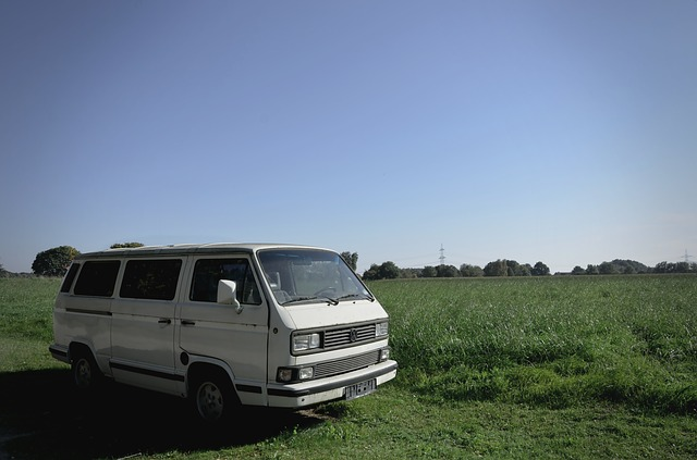 van camping in grass