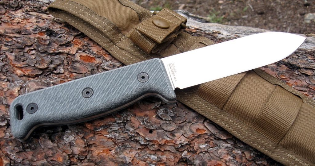 Ontario SK 5 Blackbird Knife on log