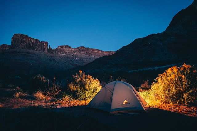 camping near rock mountain