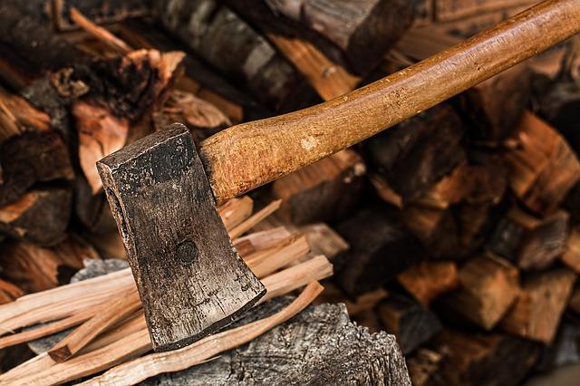 chopping wood hatchet