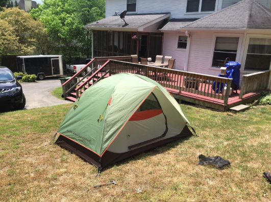 alps-mountaineering-meramac-2-person-tent-pitched-backyard & ALPS Mountaineering Meramac 2 Person Tent Review \u2013 Does The Low ...