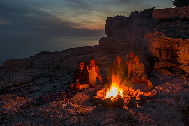 family-around-campfire