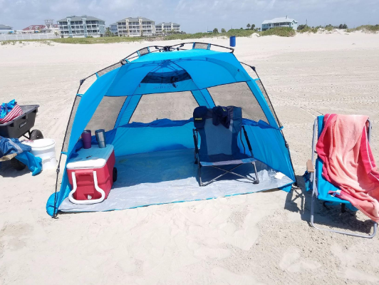 pacific-breeze-easyup-beach-tent-deluxe-xl-pitched- & My Honest Pacific Breeze EasyUp Beach Tent Deluxe XL Review ...