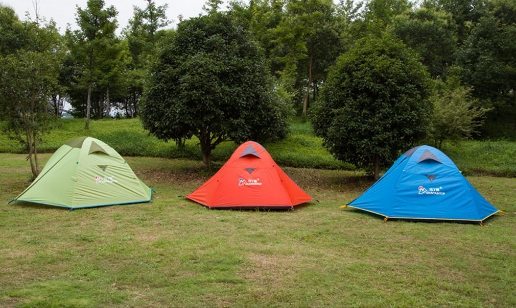 Mountaintop Waterproof 2 Person Tent pitched lawn