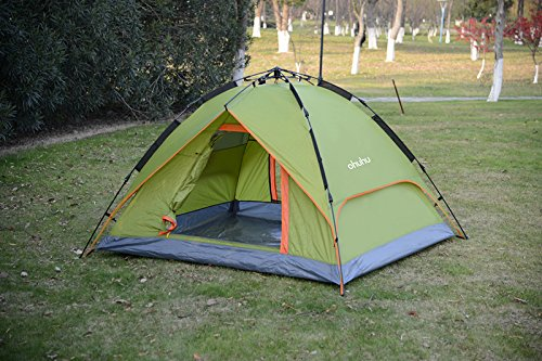Ohuhu 3 Person Tent pitched grass
