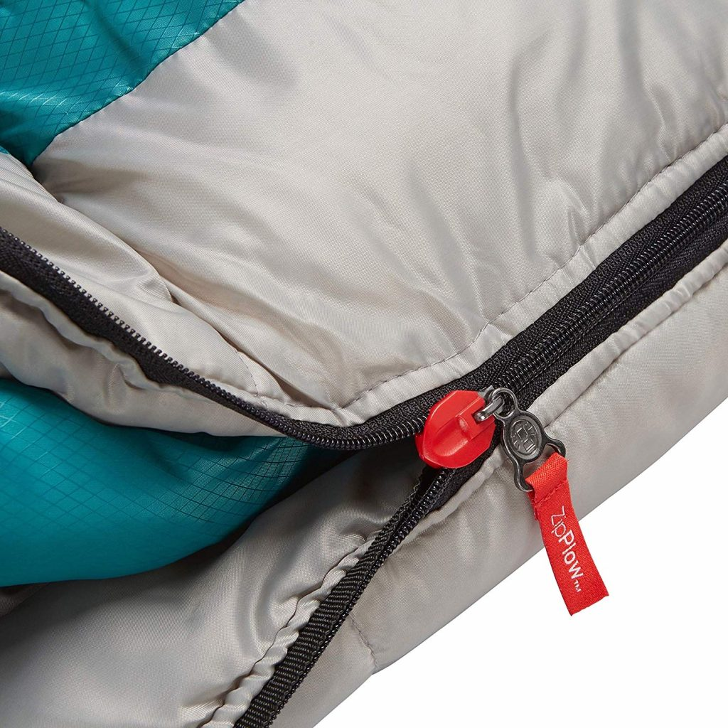 Coleman close up of the zipper on the 0 degree mummy sleeping bag