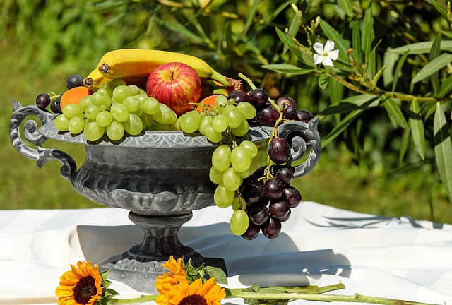 fruit bowl on outside table