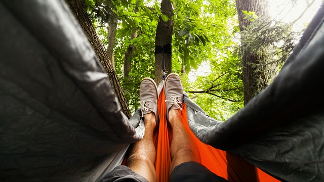 Man Lying Down In Hammock