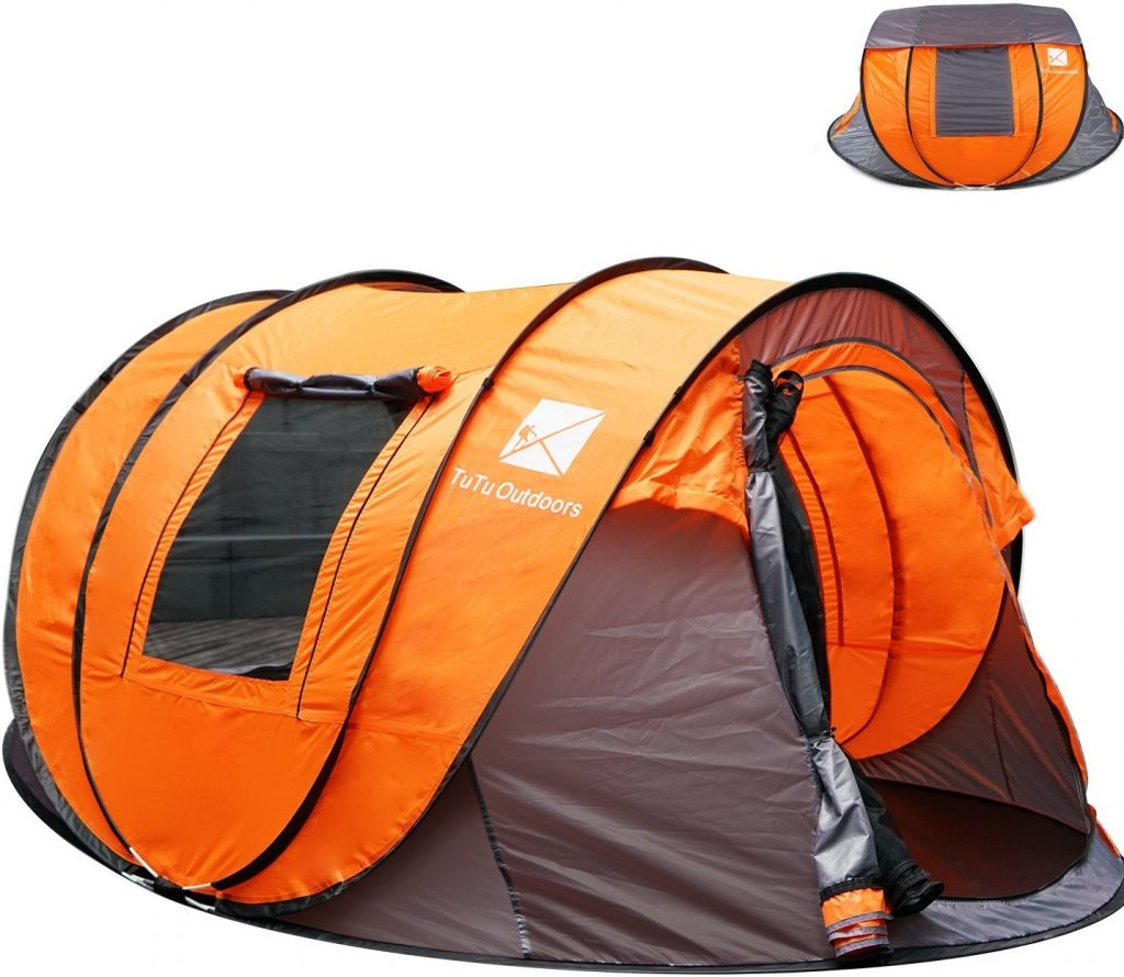 2017 Newest TuTu Outdoors X-large Instant 5-6 Person Pop Up Dome Tent with Skywindow-Durable Portable Easy Up Shelter with 12 Stakes & Carrying Bag, Ideal for Family Camping-114.2''L78.5''W51.2''H