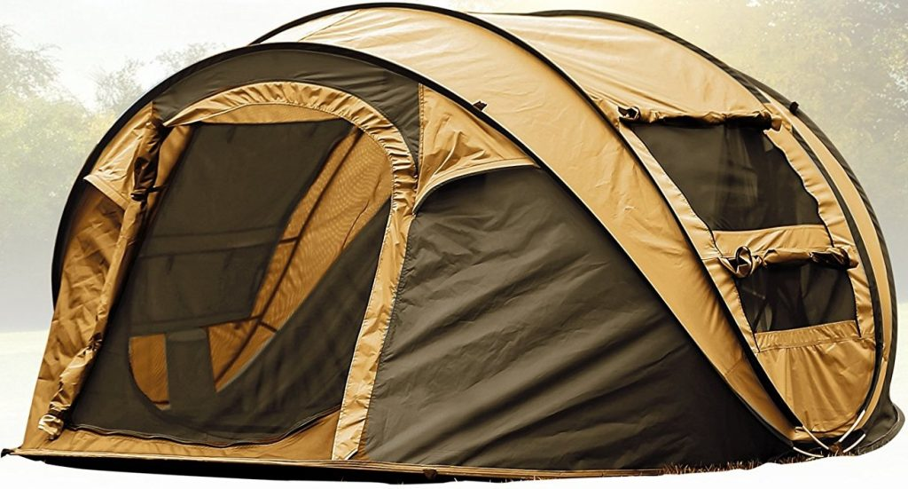 FiveJoy Instant 4-Person Pop Up Dome Tent - Easy, Automatic Setup - Fast Pitch & Fold into Portable Carrying Case (Includes Stakes), Ideal Shelter for Casual Family Camping, Hiking, Outdoor Festivals
