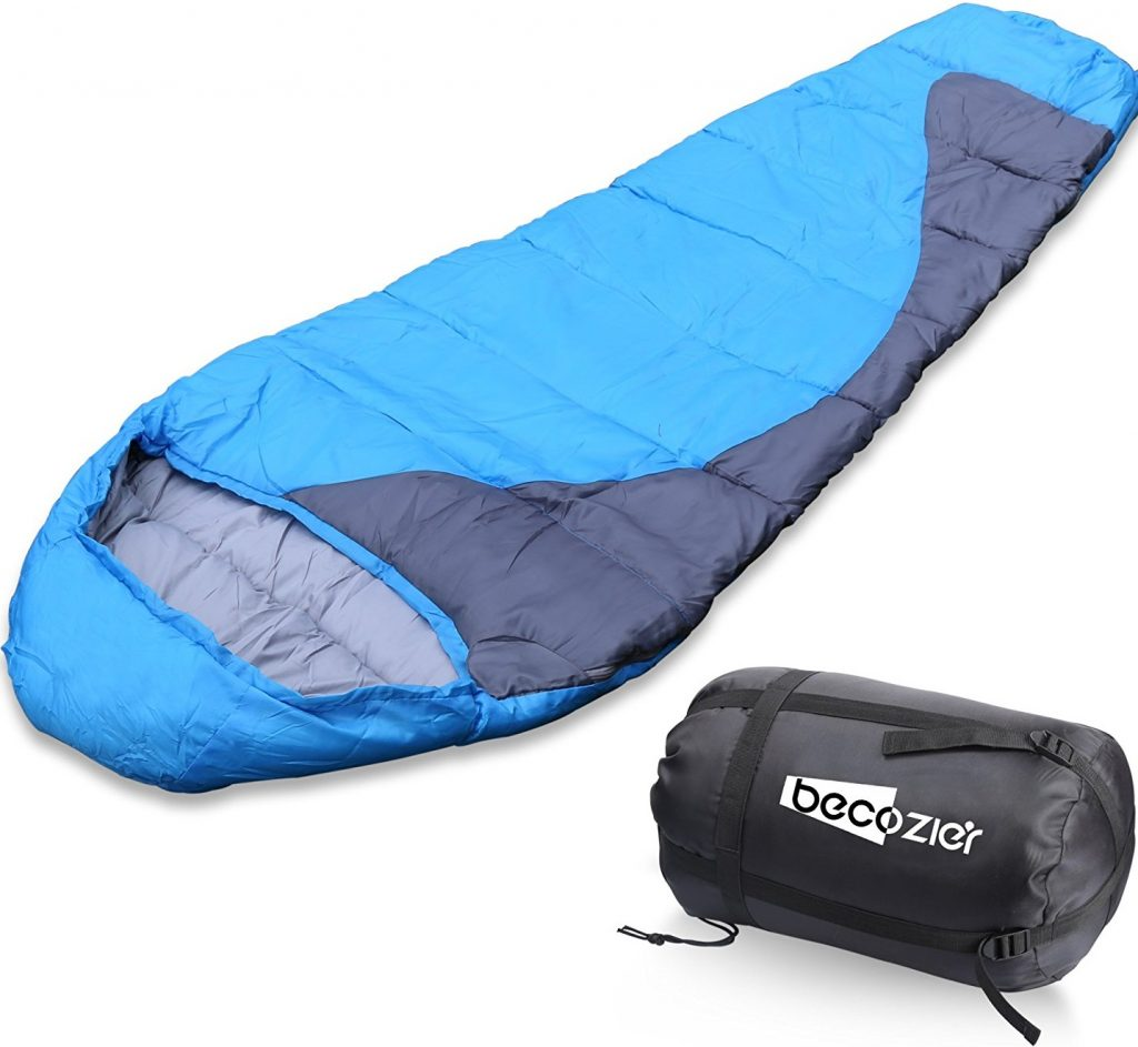 Becozier Sleeping Bag With Waterproof Polyester Shell And Portable Stuff Sack Bag, Perfect For 4 Season Camping, Hiking, Backpacking And Traveling, Blue