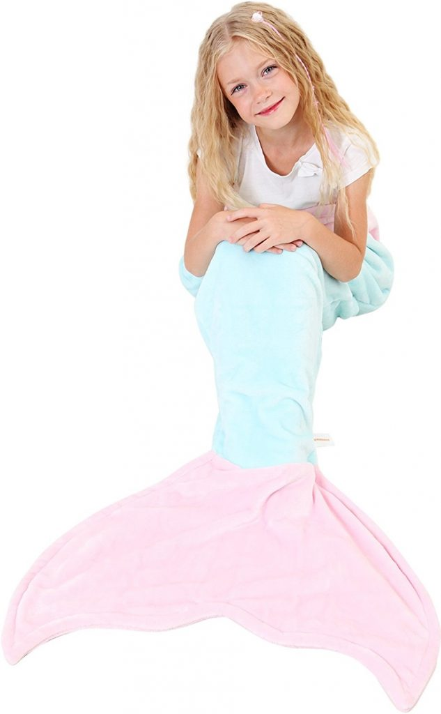 Mermaid Tail Blanket - Soft and Warm Polar Fleece Fabric Blanket by Cuddly Blankets for Kids and Teens (Ages 3-12) (Aqua and Ocean Blue)