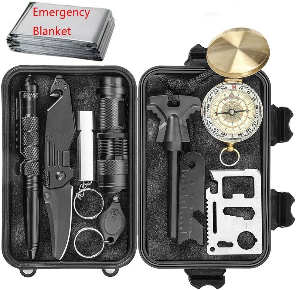 Emergency Survival Kits 11 in 1, CHANGKU Multi Professional Survival Tools Outdoor Survival Gear Kit for Traveling Hiking Biking Climbing Hunting