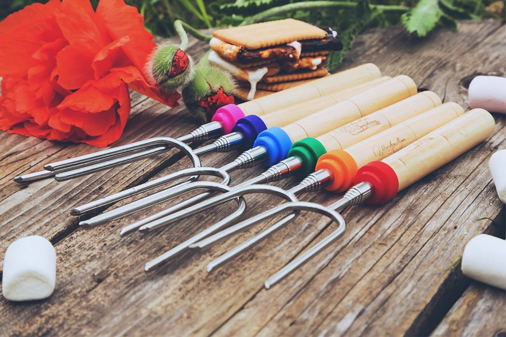 Popular Carpathen Marshmallow S'mores Roasting Sticks - Set of 6 Extra Long Heavy Duty Hot Dog Fork Skewers - Perfect Camping Campfire Grill Equipment