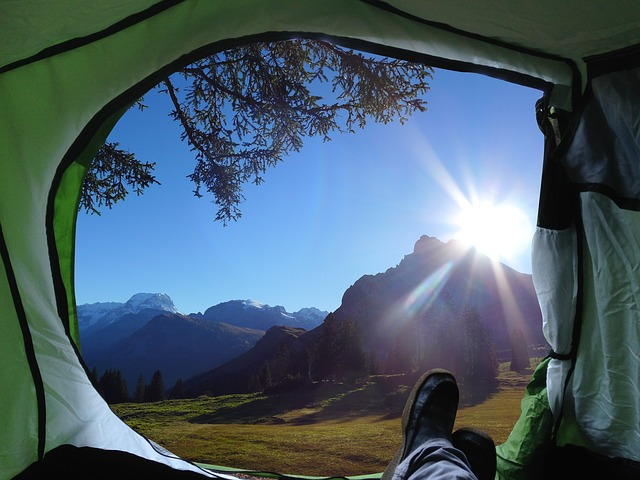 camping alone in tent