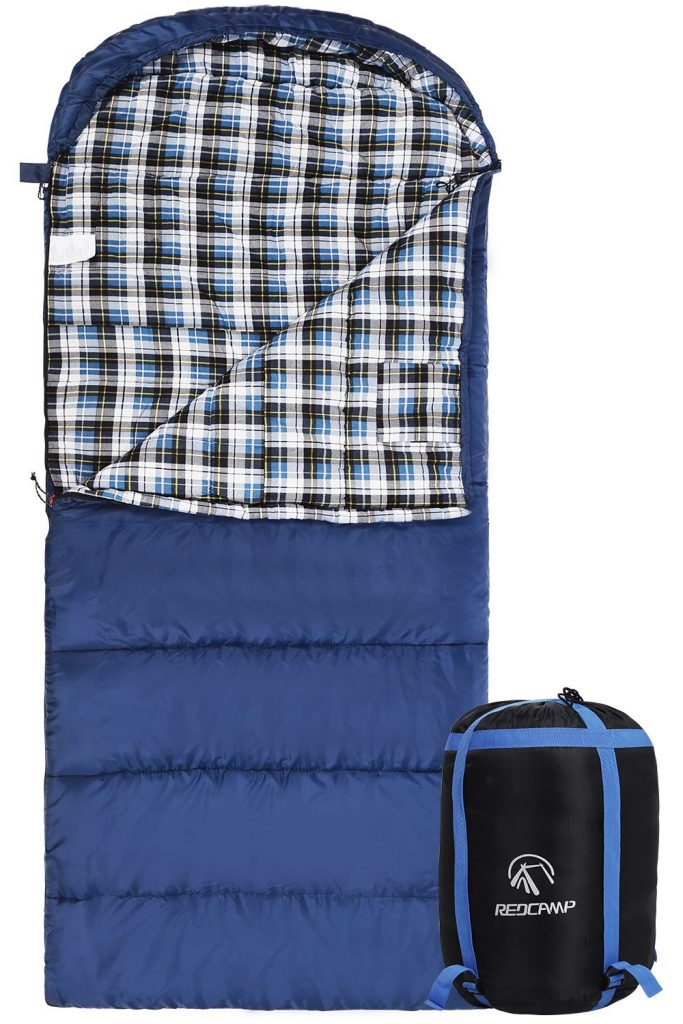 Cotton Flannel Sleeping Bag for Adults, 2332F Comfortable, Envelope with Compression Sack BlueGrey 234lbs(95x35)