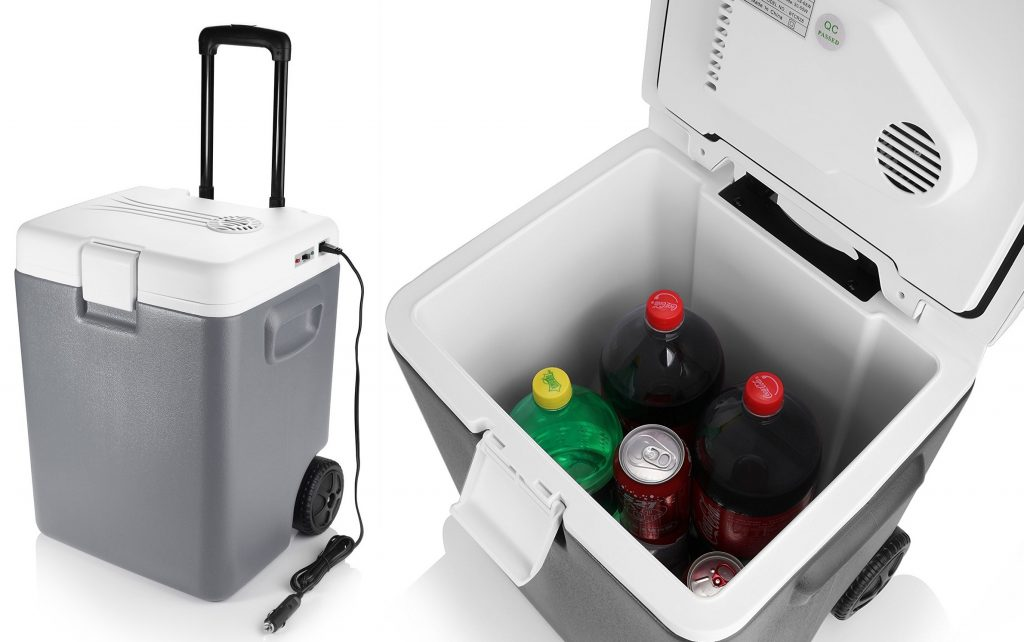 BESTEK Wheeled Electric 30 Quart Cooler and Warmer - Portable Car Refrigerator with DC 12V Vehicle Plug for Truck Party, Travel, Picnic outdoor, Camping, Home, Office (Grey)