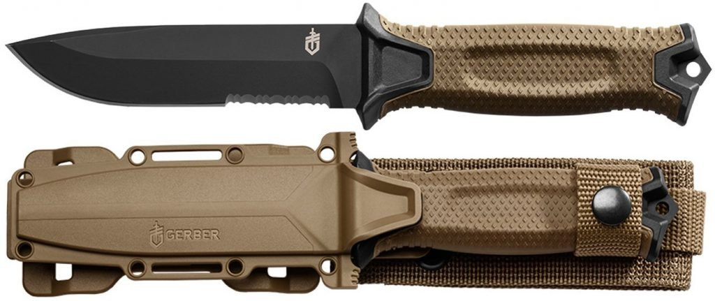 Gerber StrongArm Fixed Blade Knife, Serrated Edge, Coyote Brown - 30-001059