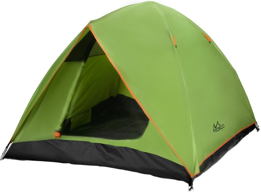 MoKo Waterproof Family Camping Tent, Portable 3 Person Outdoor Instant Cabin Tent, 4-Season Double Layer Dome Tent Sun Shelter for Hiking, Backpacking, Trekking, Mountaineering, Beach - Green