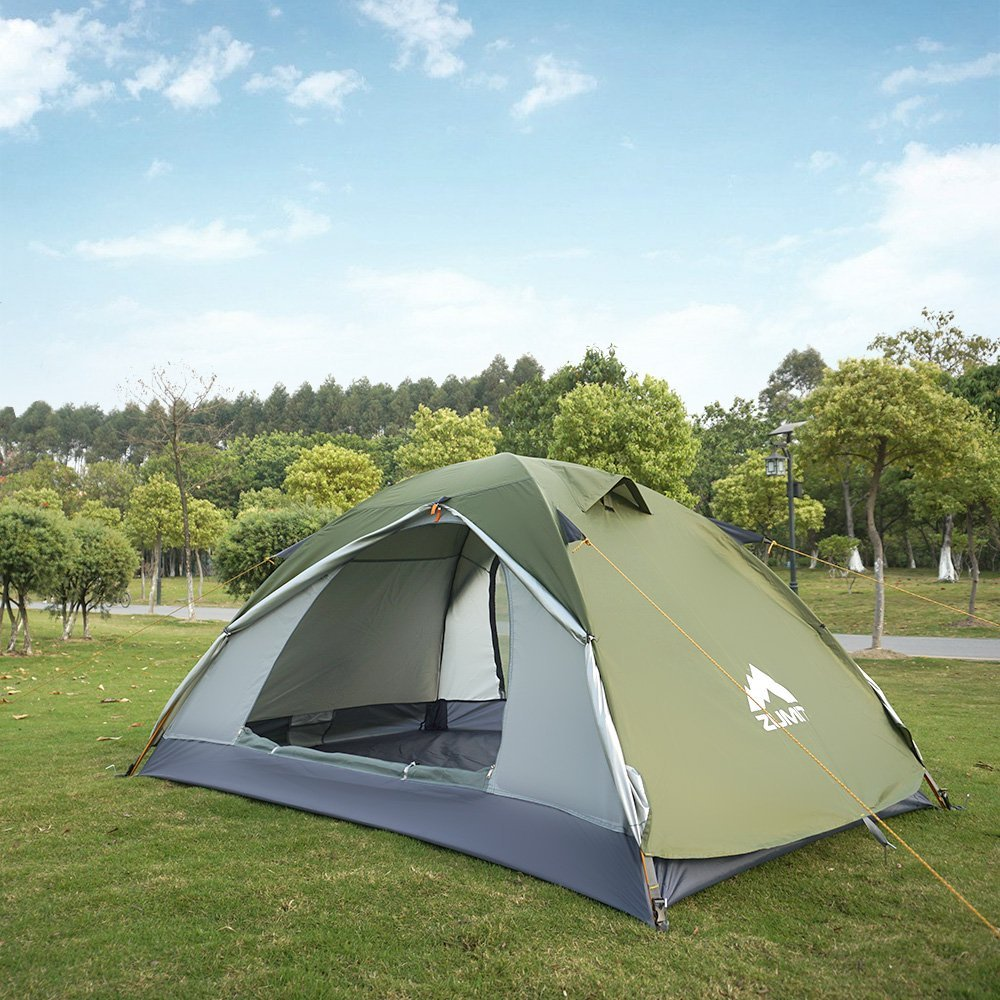 ZUMIT Tent for Camping 4-6 Person Waterproof Dome Shelter Family Cabin Large Hexagon Automatic Tent Yellow #613