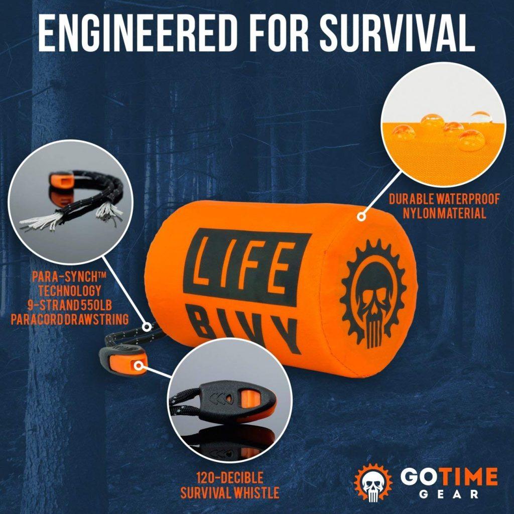 Go Time Gear Life Bivy Emergency Sleeping Bag Thermal Bivvy - Use as Emergency Bivy Sack, Survival Sleeping Bag, Mylar Emergency Blanket - Includes Stuff...