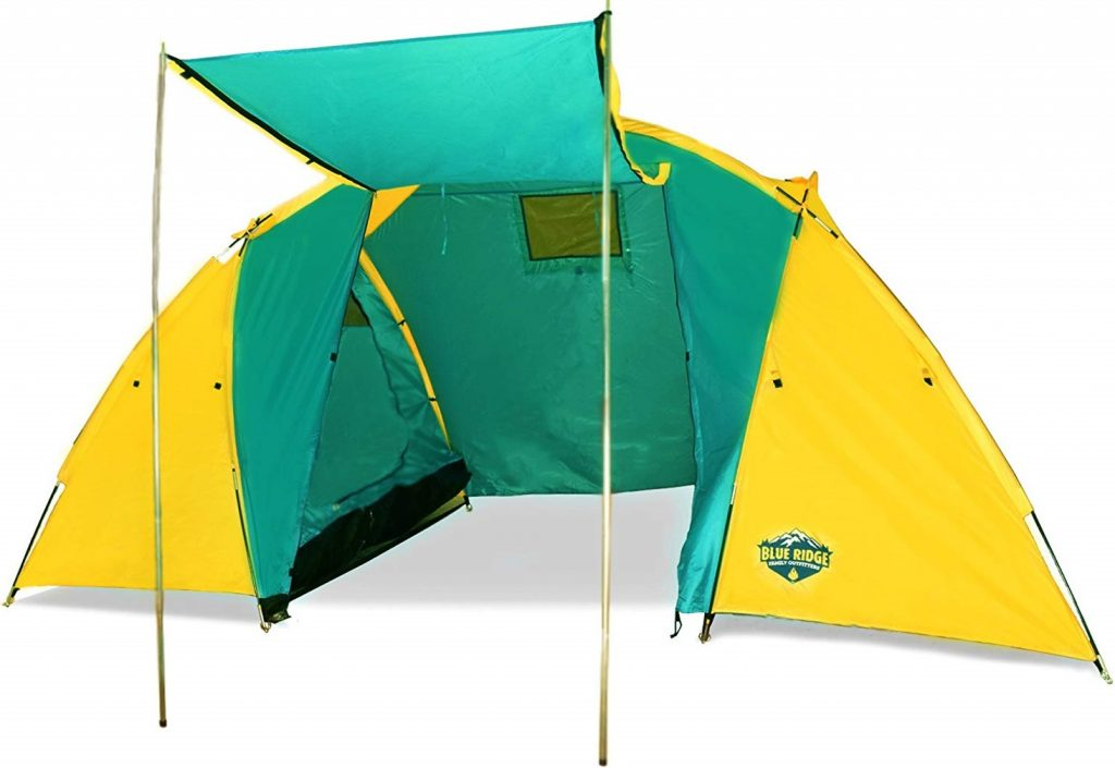 Blue Ridge Family Outfitters 4 person Summer Camping Tent - Spacious & Waterproof 7'6Wx6'9Hx15'L