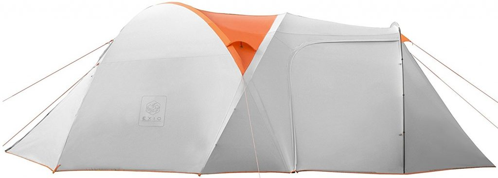 Exio Gear 6 Person Tent Compact for Backcountry, 20D Breathable Ripstop Nylon Tent and Rainfly with PU2000 Silicone Coating, and Aluminum Poles