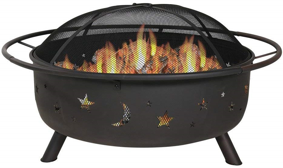 Sunnydaze 42 Inch Large Fire Pit with Spark Screen, Outdoor Wood-Burning, Cosmic Design