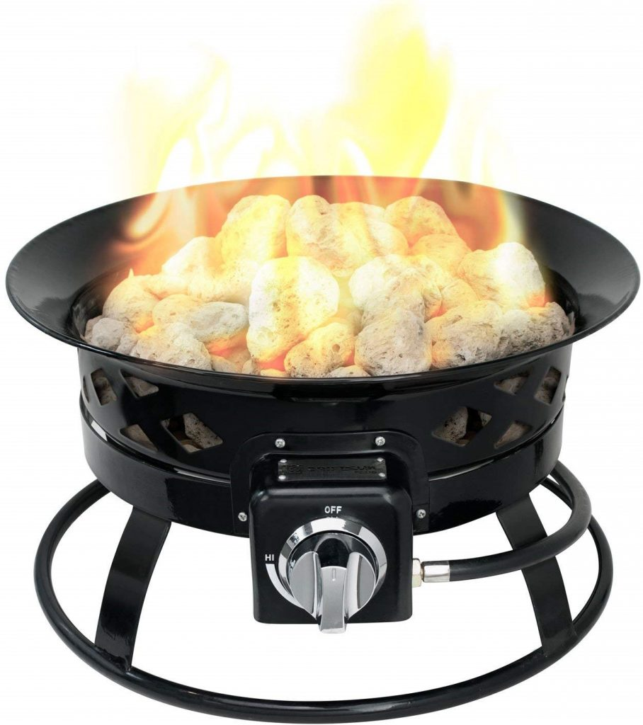 Sunward Patio Portable Outdoor 58,000 BTU Propane Fire Pit 19 Fire bowlLava Rocks, Carry Handle, Lid and Weather Resistant Bag Included!