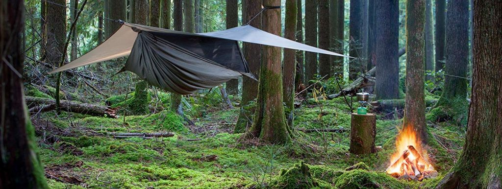 A rain fly can help provide shelter to any camping hammock.
